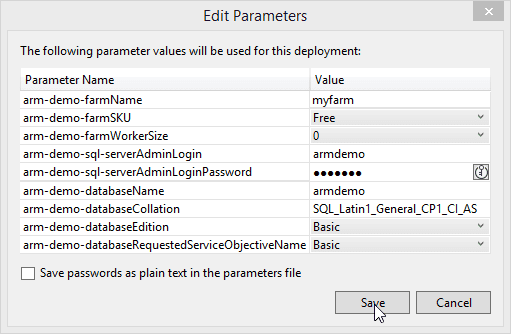 ARM template deployment parameters